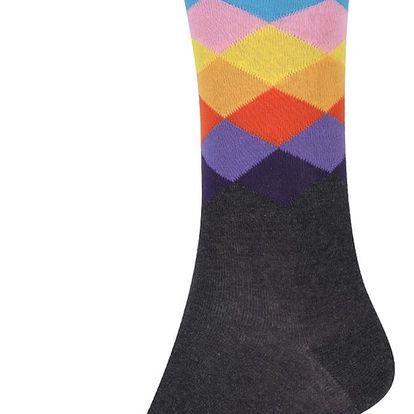 Šedé unisex vzorované ponožky Happy Socks Faded Diamond