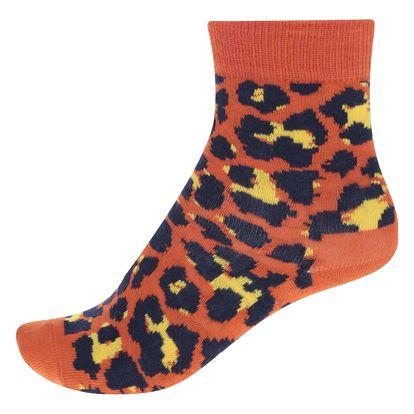 Oranžové dětské ponožky s leopardím vzorem Happy Socks Leopard