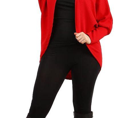 Oversized svetr bez zapínání - i pro plnoštíhlé červená