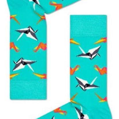 Happy Socks tyrkysové dámské ponožky Origami