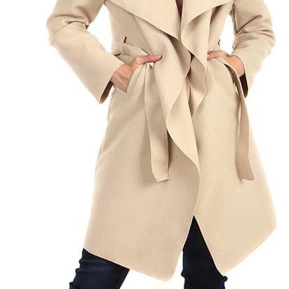 Dlouhý kabát - kardigan s páskem světle béžová