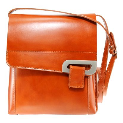 Koňakově hnědá kožená taška Chicca Borse Valeria - doprava zdarma!
