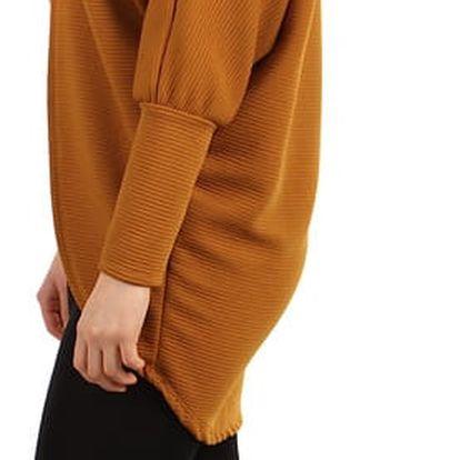Oversized svetr bez zapínání - i pro plnoštíhlé hořčicová