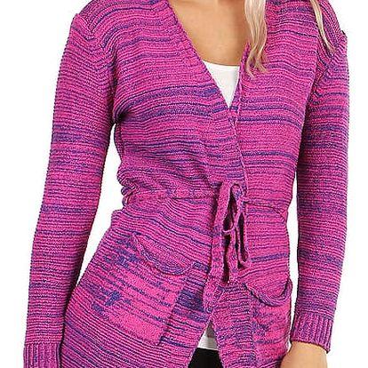 Dlouhý melírovaný cardigan bez zapínání fialová