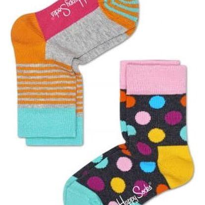 Happy Socks barevná sada dětských ponožek s puntíky a proužky
