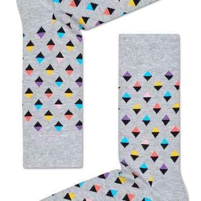 Happy Socks světle šedé pánské ponožky Diamonds