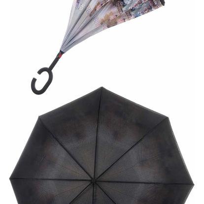 Obrácený holový deštník s dvojitým potahem Obraz přírody