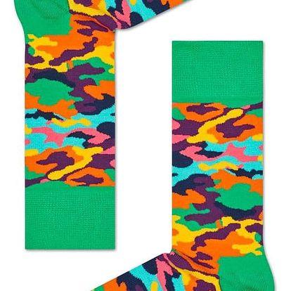 Happy Socks maskáčové dámské ponožky Bark Green