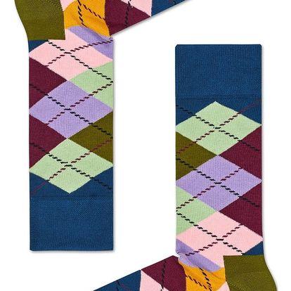 Happy Socks barevné pánské ponožky s károvaným vzorem Argyle