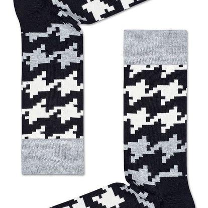 Happy Socks vzorované dámské ponožky s kohoutí stopou Dogtooth