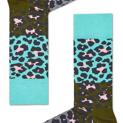 Happy Socks šedo-zelené pánské ponožky Leopard
