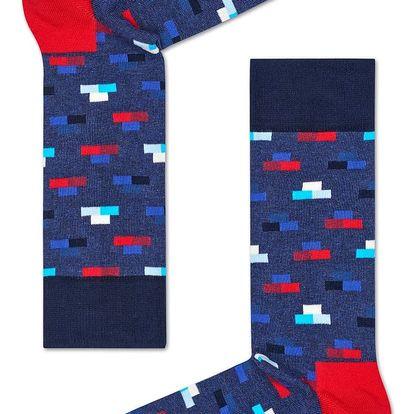 Happy Socks modré pánské ponožky Bricks