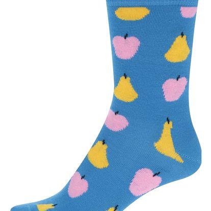 Modré dámské ponožky s motivem ovoce Happy Socks Fruit