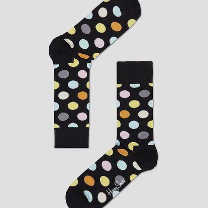Ponožky Happy Socks černé s barevnými puntíky vzor Big Dot Barevná