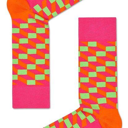 Happy Socks růžové pánské ponožky Filled Optic