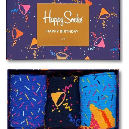 Happy Socks set pánských ponožek Happy Birthday v hrací krabičce