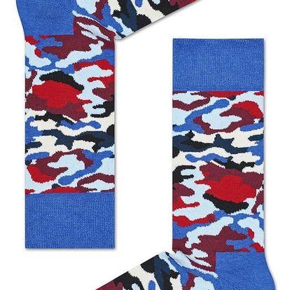 Happy Socks maskáčové dámské ponožky Bark Red/Blue