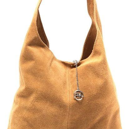 Koňakově hnědá kožená kabelka Roberta M 885 - doprava zdarma!