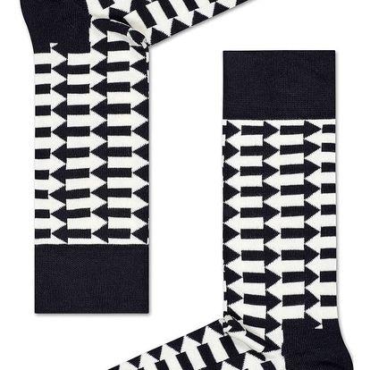Happy Socks černo-bílé pánské ponožky Direction