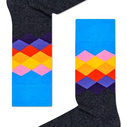Happy Socks šedé dámské ponožky Faded Diamond