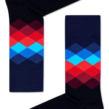 Happy Socks černé dámské ponožky Faded Diamond