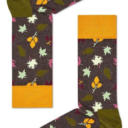 Happy Socks šedé pánské ponožky s listy Fall