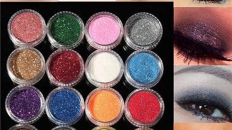 Sada třpytivých očních stínů - 16 barev