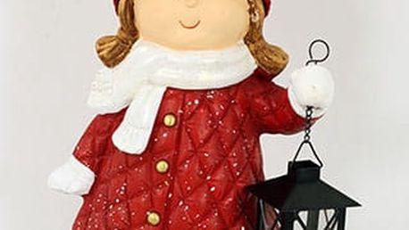 Děvčátko, MgO keramická dekorace s kovovou lucerničkou na čajovu svíčku