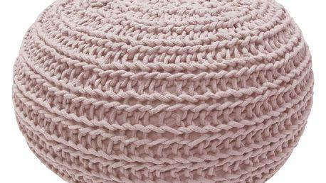 Růžový pletený puf OVERSEAS Natural - doprava zdarma!