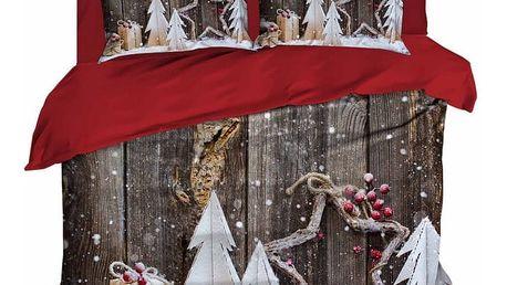 Sada povlečení a prostěradla na dvoulůžko Christmas Wood, 200x220cm - doprava zdarma!