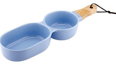 Modrá dvojitá servírovací porcelánová miska Ladelle Classic