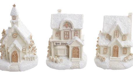 Sada 3 světelných dekorací InArt Snowy Village