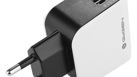Nabíječka do sítě GoGEN ACH 200, 2x USB, 2,1A (GOGACH200) černá/bílá