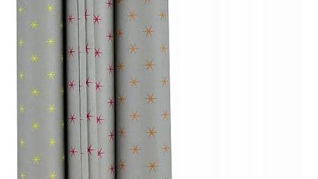 Bloomingville Balicí papír Grey Star - set 3 ks, šedá barva, papír