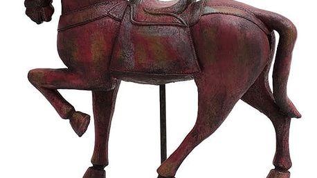 Červená dekorace dřevěný koník Ego Dekor