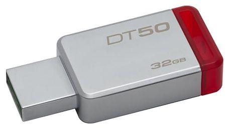 USB Flash Kingston 32GB (DT50/32GB) červený/kovový