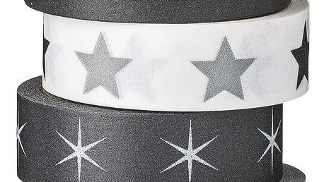 Bloomingville Vánoční papírová páska Black, Grey & White Hvězda na černé, černá barva, bílá barva, papír