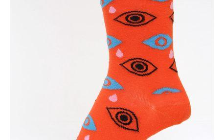 Oranžové dámské vzorované ponožky Happy Socks Cry Baby