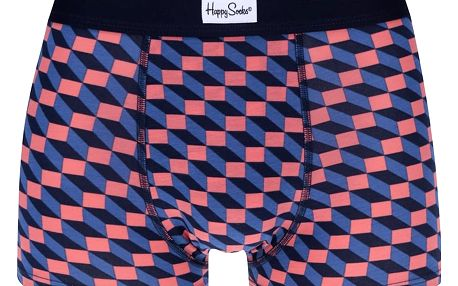 Oranžovo modré vzorované boxerky Happy Socks Filled Optic