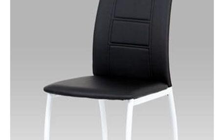 (AC-1195 BK) Jídelní židle černá koženka / bílý lak