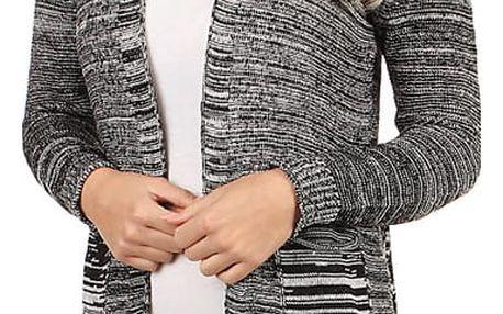 Dlouhý melírovaný cardigan bez zapínání černá
