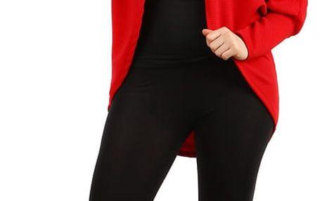Oversized svetr bez zapínání - i pro plnoštíhlé zrzavá