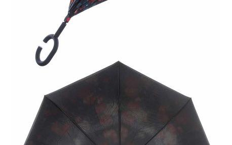 Obrácený holový deštník s dvojitým potahem Růže