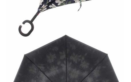 Obrácený holový deštník s dvojitým potahem Květy