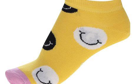 Žluté dámské kotníkové ponožky Happy Socks Smile