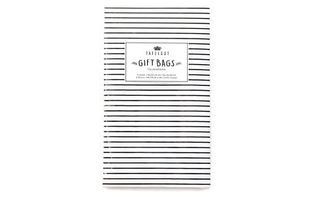 TAFELGUT Dárkové papírové sáčky Stripes + vykrajovátko, černá barva, bílá barva, papír