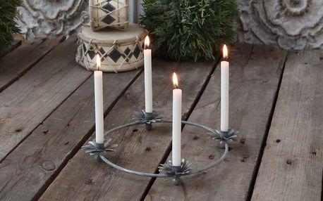 Chic Antique Adventní svícen Flower Antique, stříbrná barva, kov