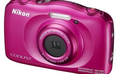 Digitální fotoaparát Nikon Coolpix W100 BACKPACK KIT (VQA012K001) růžový