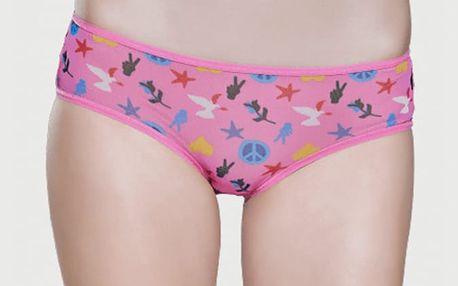 Kalhotky Happy Socks růžové mesh s barevným vzorem Peace and Love Růžová