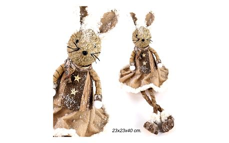 Dekorativní soška ze slámy sedící myš Unimasa